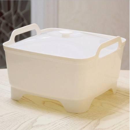 普润 炫彩果蔬收纳筐 收纳篮 有盖--白色
