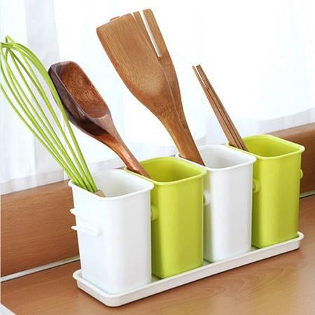 普润 厨房沥水四格餐具整理盒/多用收纳桶--绿色