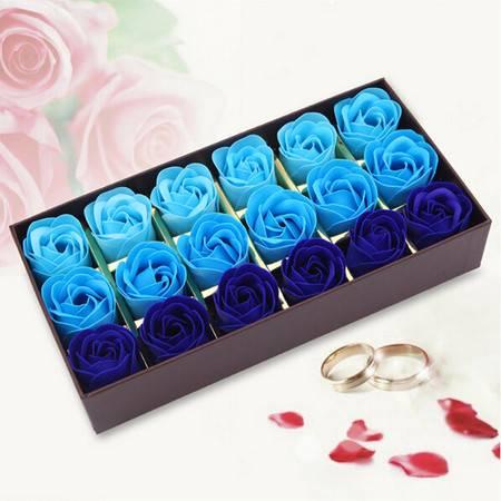 浪漫礼品咖啡盒玫瑰花皂花(18朵)--渐变蓝色