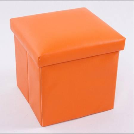 普润 PU皮收纳凳 储物凳 换鞋凳 收纳箱 橙色