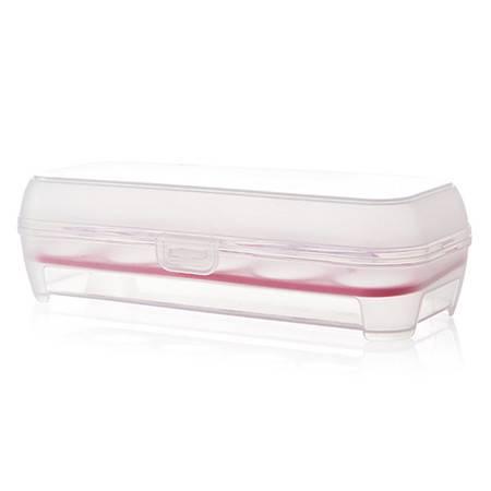 透明翻盖式10卡位鸡蛋收纳保鲜盒--玫红色