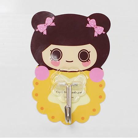 韩版卡通无痕魔力贴挂钩--蝴蝶结女孩 8个