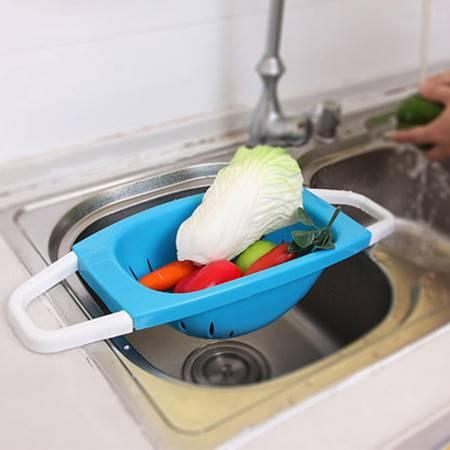 炫彩可折叠沥水篮 蔬果沥水架--蓝色