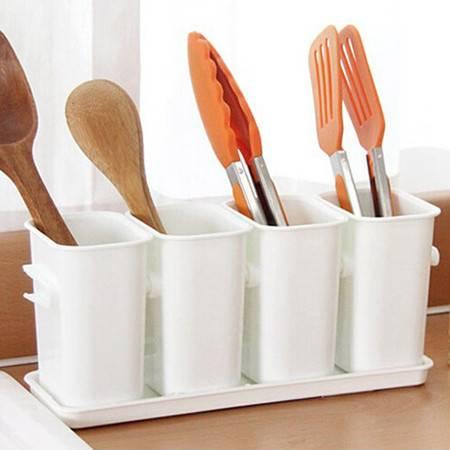 普润 厨房沥水四格餐具整理盒/多用收纳桶--白色