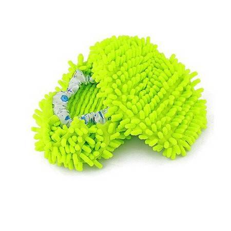 普润 鞋套 雪尼尔懒人擦地鞋 家务清洁鞋套一双 绿色