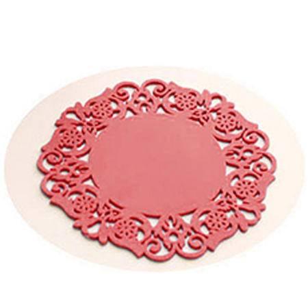 时尚蕾丝镂空硅胶杯垫 彩色防滑隔热垫 红色20片