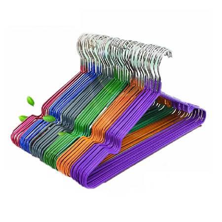 普润 钢丝防滑浸塑衣架 晾衣架 衣服架衣服撑衣架 紫色 十只装