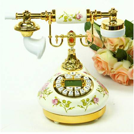 普润 富贵花开仿古电话机 欧式陶瓷电话机 家居装饰