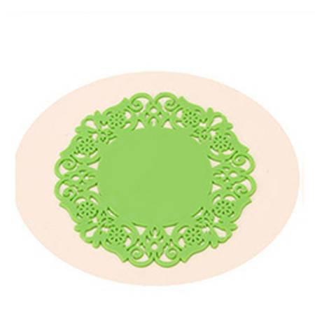 时尚蕾丝镂空硅胶杯垫 彩色防滑隔热垫 绿色20片