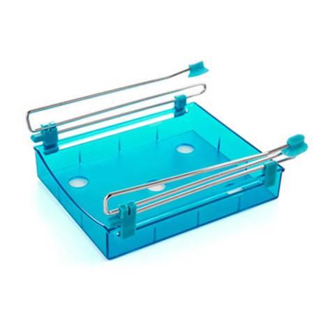 冰箱保鲜隔板层多用收纳架 创意抽动式置物盒 整理置物架 蓝色