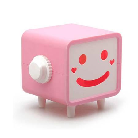 普润 可转动笑脸纸巾抽/纸巾盒--粉色