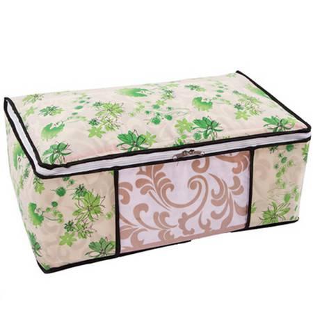 绿色女人花衣物棉被套 软收纳箱--小号