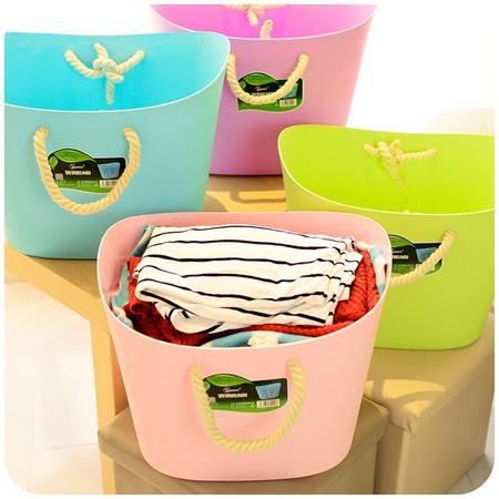 大号软塑料棉绳脏衣篮时尚收纳篮衣服储物筐脏衣桶 紫色