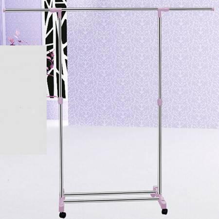 普润 晾晒单杠加宽不锈钢晒衣架 伸缩落地多功能晾衣架 折叠升降晾衣架 紫色