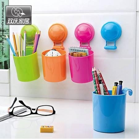 双庆吸盘置物架厨房卫浴置物架浴室架壁挂收纳架1066 单个挂杯 橙色