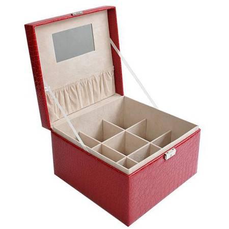 开馨宝鳄鱼纹手提式加大格首饰盒/饰品盒/收纳盒 大红色(K8520-2)