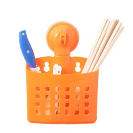 厨卫两用带吸盘双筒沥水筷子笼/收纳篮--橙色(镂空苹果)
