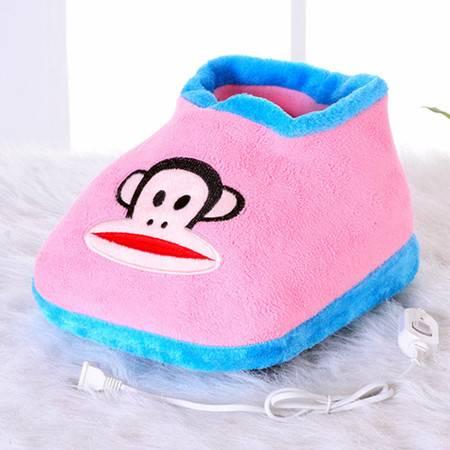 享优优系列大嘴猴可插电式两档调温型卡通电暖鞋/可拆洗暖脚宝 粉红色