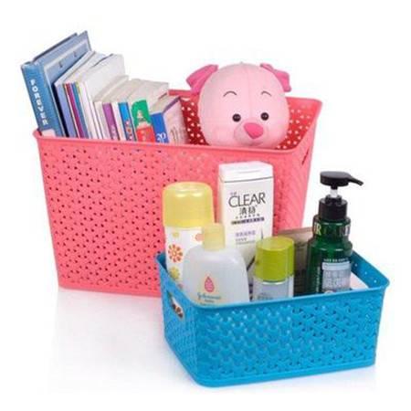 藤编塑料桌面收纳箱抽屉有盖玩具衣物整理储物镂空筐收纳盒小无盖 颜色随机