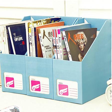 (大号蓝色)畸良 糖果色 桌面收纳盒桌面整理盒 大号文件收纳盒