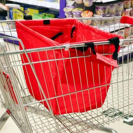 大容量可折叠手推车购物袋-颜色随机