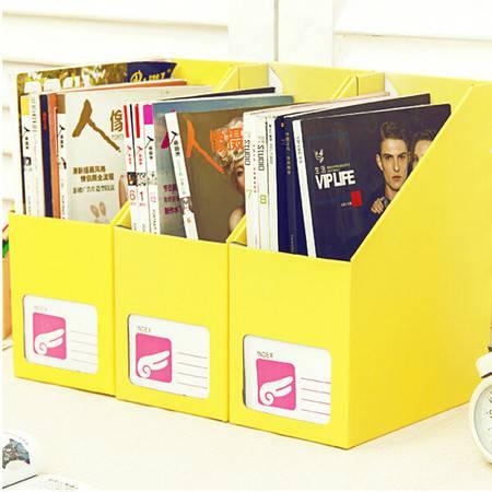 (大号黄色)畸良糖果色 桌面收纳盒桌面整理盒 大号文件收纳盒