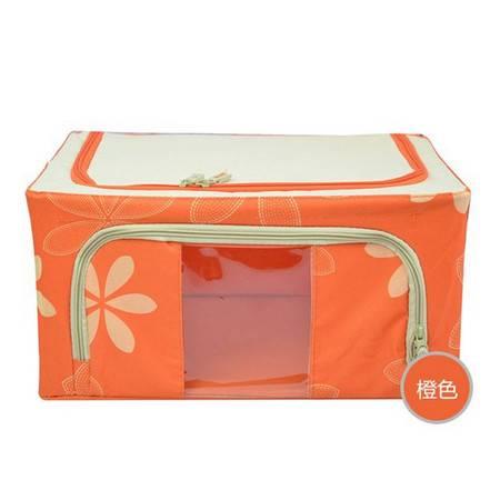 100L橙色 牛津布钢架百纳箱 整理收纳箱 咖啡色树叶 单视 双开门