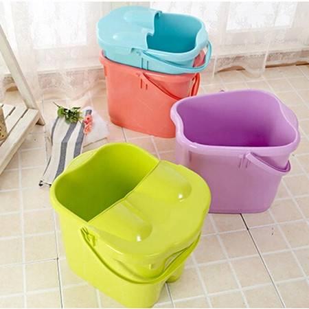 双庆新品加厚加高洗脚桶塑料足浴桶足浴盆加深洗脚盆带盖子 蓝色