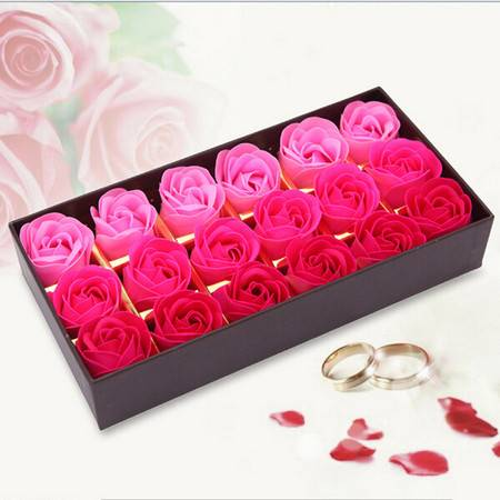 浪漫礼品咖啡盒玫瑰花皂花(18朵)-