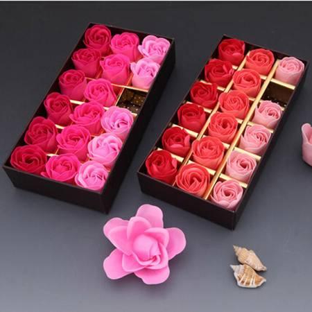 浪漫礼品咖啡盒玫瑰花皂花(18朵)--渐变红色