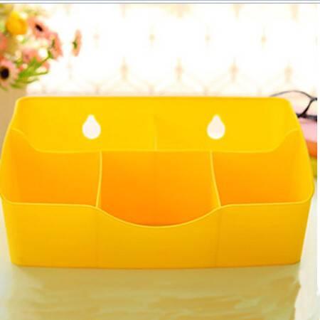 炫彩爱心办公桌面整理盒 5格化妆品收纳盒 创意五格爱心杂物收纳 黄色
