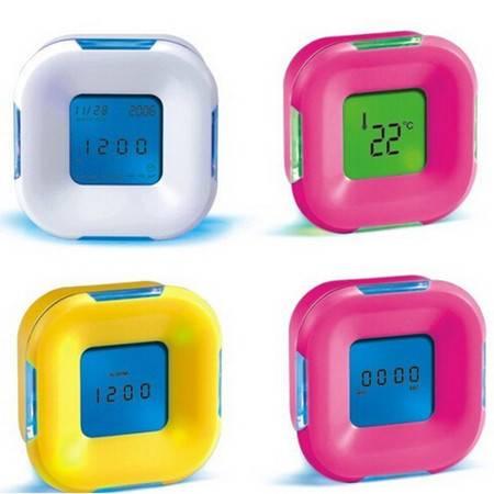 耀点100 新款四面钟 温度计 闹种 万年历 定时器