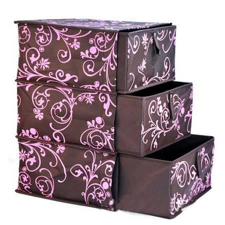 鱼尾花三层三抽整理箱 文胸内衣收纳盒储物柜 无纺布三层整理盒 咖啡色
