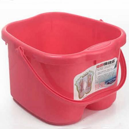 圣强 脚底按摩功能 塑料足浴桶 洗脚盆 洗脚桶足浴盆(红色)