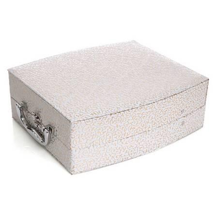 开馨宝欧式双层大容量首饰盒-白色凹凸纹(K8536-3)