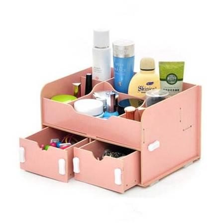 普润 实用二代DIY双抽屉木质收纳盒 粉色