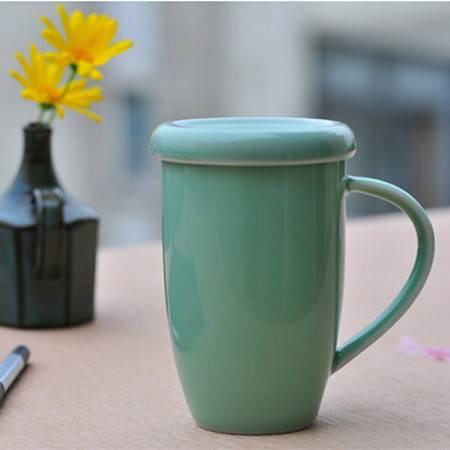 陶瓷故事龙泉青瓷创意礼品礼物陶瓷茶杯可爱个性带盖淑女杯320ml