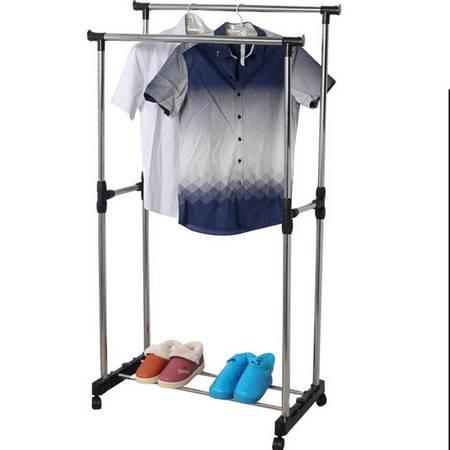 双杆晾衣架不加宽升降式置物带滑轮衣架 不锈钢上下可伸缩落地晾晒衣架子