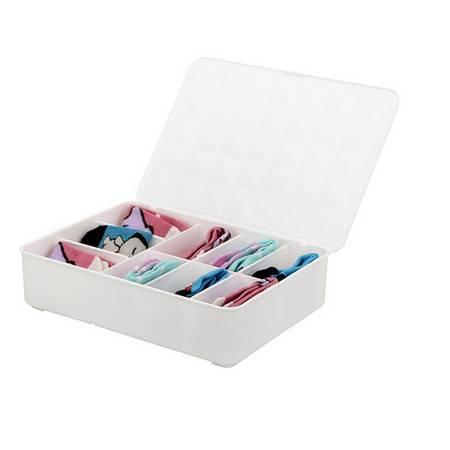 糖果色分隔式9格塑料翻盖内衣文胸收纳盒--白色