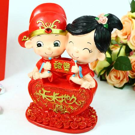 普润 中国风婚庆摆件树脂人偶摆件情人节礼物 天长地久