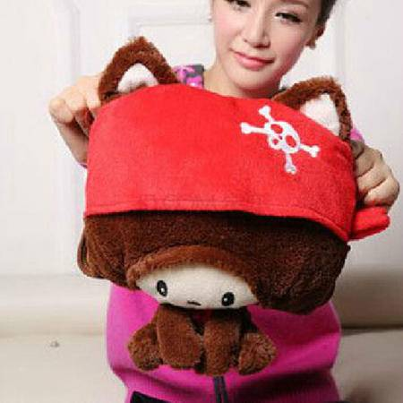 博弘电热水袋充电防爆暖水袋暖手宝充水毛绒暖手袋双插手(小红帽)