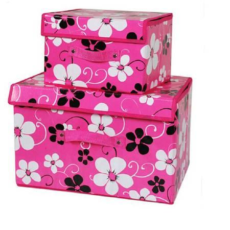 友纳 无纺布有盖收纳箱 衣服棉被收纳储物整理箱 (大号)紫金花玫红色