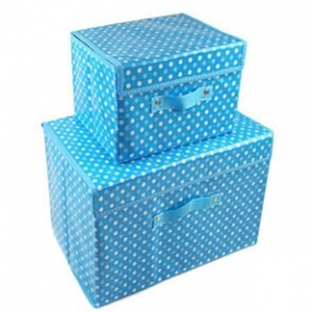 友纳 无纺布有盖收纳箱 衣服棉被收纳储物整理箱 防水覆膜箱(大号)圆点蓝