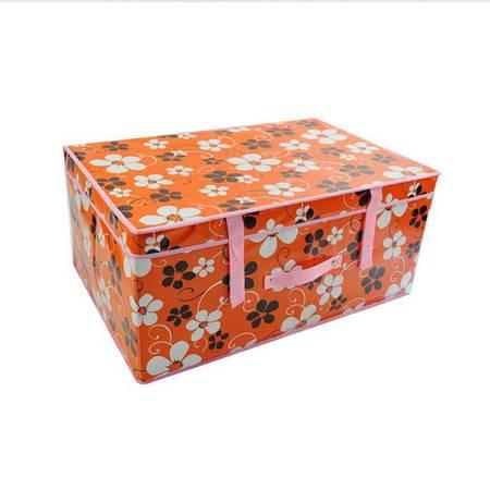 普润 无纺布有盖收纳箱 衣服棉被收纳储物整理箱 防水覆膜箱(60*40*30CM)橙色五瓣花
