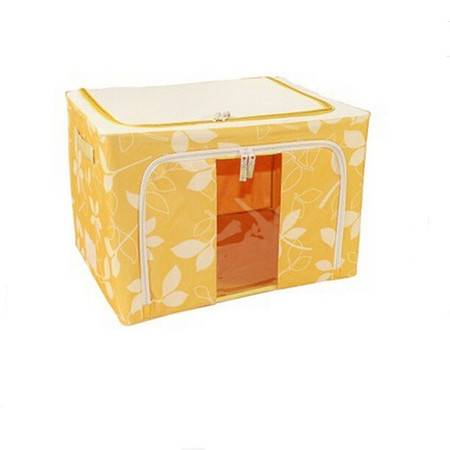 普润 22L黄色 牛津布钢架百纳箱 有盖整理箱 绿色树叶 单视 双开门