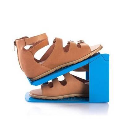 加厚一体式鞋架收纳鞋架简易塑料鞋架双层鞋架 3个装 颜色随机