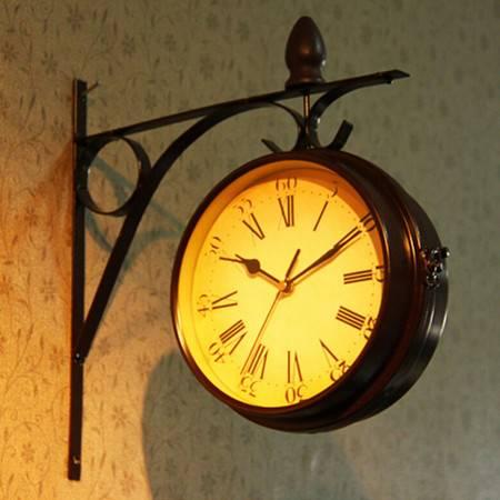 红兔子 欧式复古铁艺创意双面侧挂挂钟创意钟表样板房家居时尚钟饰