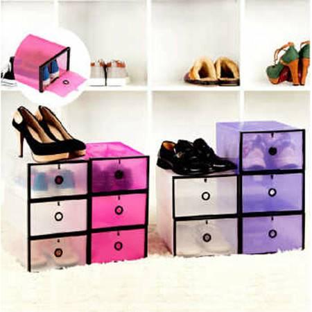 星空夏日加大加厚鞋柜式透明鞋盒 白色低跟款