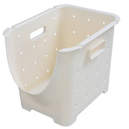 可叠加塑料水果蔬菜收纳箱储物筐厨房置物架 水果架整理架(小号三个)21.5*28*23cm白色