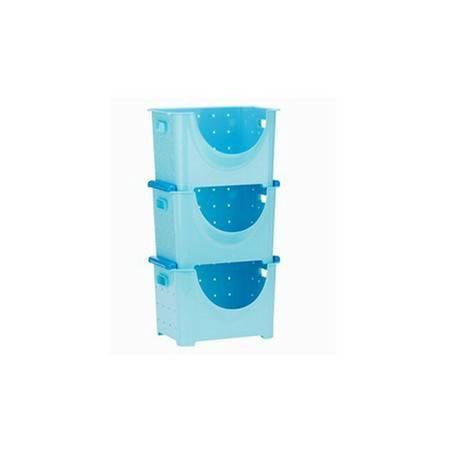可叠加塑料水果蔬菜收纳箱储物筐厨房置物架 水果架整理架(大号三个)36*28*23cm蓝色
